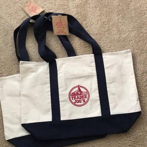 d83e509fac18 2 NEW Trader Joe s Reusable Canvas ♻️Eco Tote Bag
